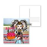 Zeeuwse ansichtkaart  Zeeuws meisje Bedankt taart_