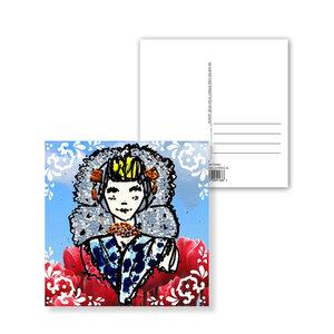 10 023 Zeeuwse ansichtkaart met rode bloemen