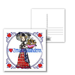 10 092 Zeeuwse ansichtkaart I love Zeeuws-Vlaanderen
