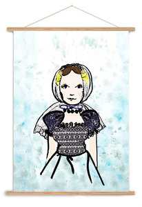 A3 poster Zeeuws meisje in blauwe klederdracht