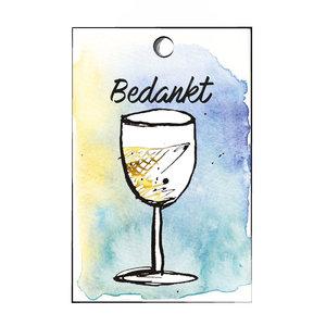 Cadeaulabel witte wijn bedankt