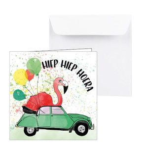 Verjaardagskaart feest flamingo in auto